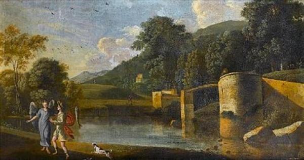 《托拜厄斯和天使,有河流的风景》 阿戈斯蒂诺塔西 布面油画 1600年.